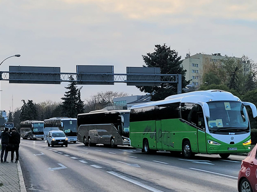 Przewoźnicy autokarowi protestują